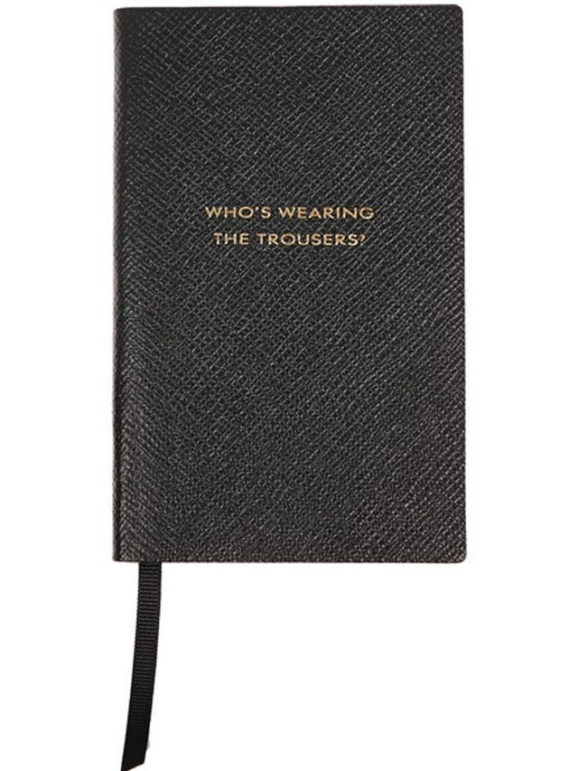 Smythson Panama Who's Wearing The Trousers? Textured-Leather Notebook
