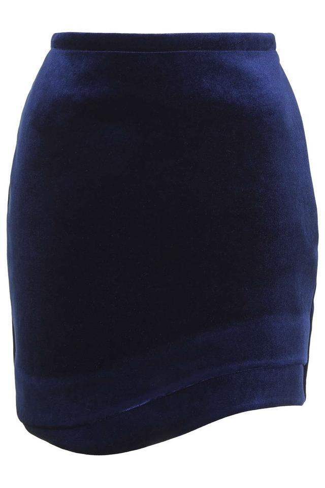 Topshop Velvet Wave Hem Mini Skirt