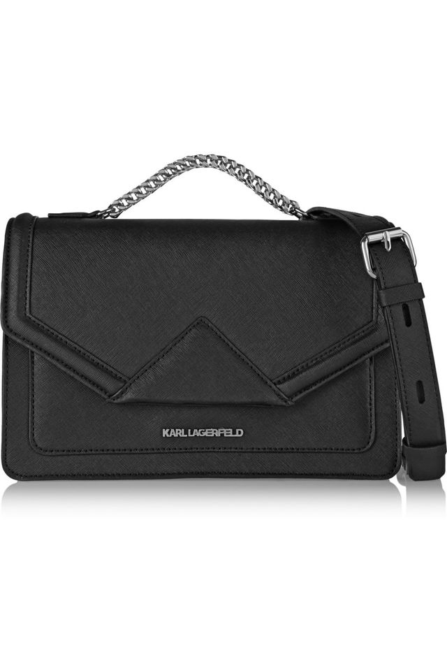 Karl Lagerfeld Klassik Textured-Leather Shoulder Bag