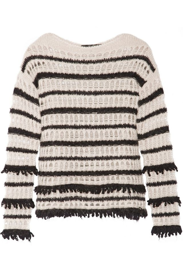 Karl Lagerfeld Dana Striped Open-Knit Sweater