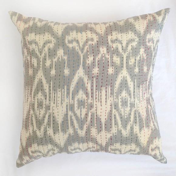 Table Tonic Hand Stitched Indian Kantha Cushion (50cm) Ikat Smoke