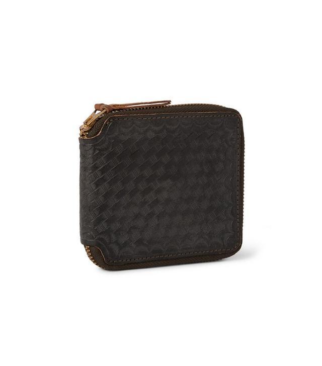 RRL Zip-Around Basketweave-Embossed Washed-Leather Wallet