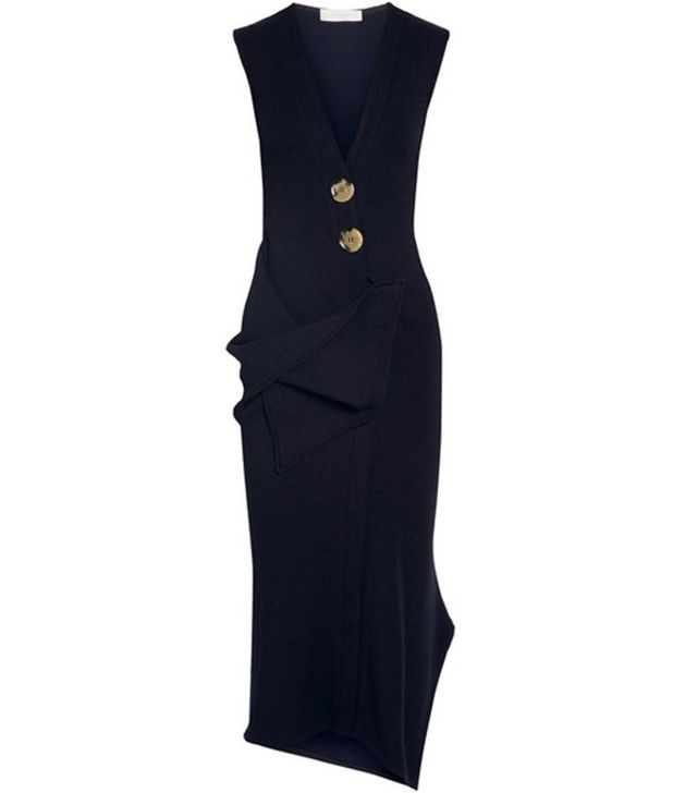 Victoria Beckham Drape Stretch-Wool Mini Dress