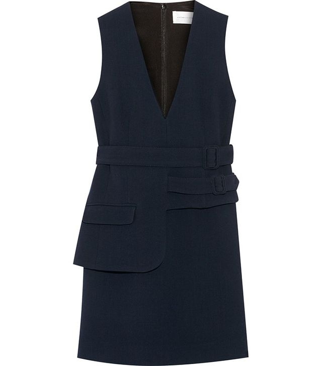 Victoria Victoria Beckham Belted Wool-Crepe Mini Dress