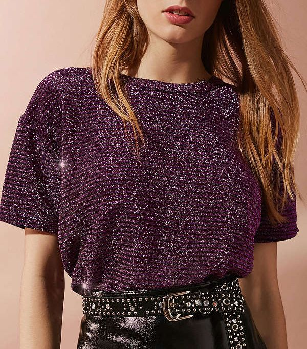 Urban Outfitters Andie Metallic Shimmer Tee