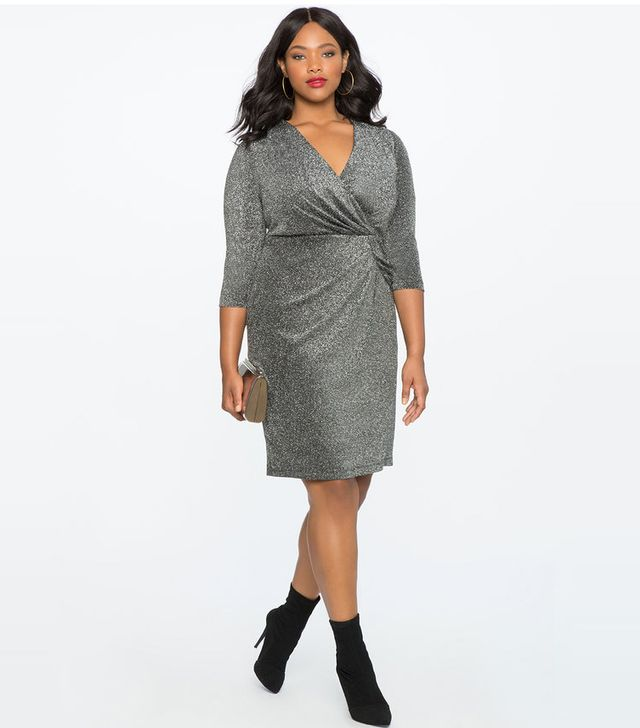 Eloquii Draped Front Metallic Knit Dress