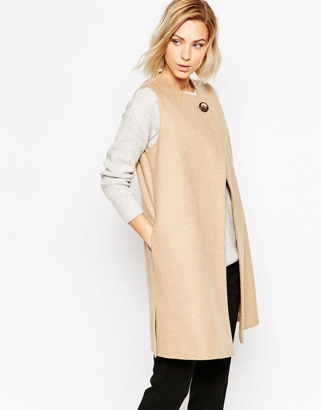 Helene Berman Camel Vest With Button Closure