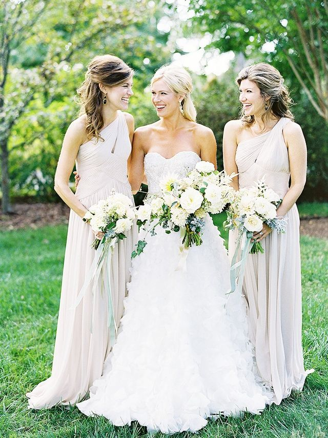 """Don't: Go for barely-therebridesmaid dresses. Do: Opt for more coverage. """"Even if the temperatures haven'tfully dropped, opt for more coverage with a one-shoulder dress..."""