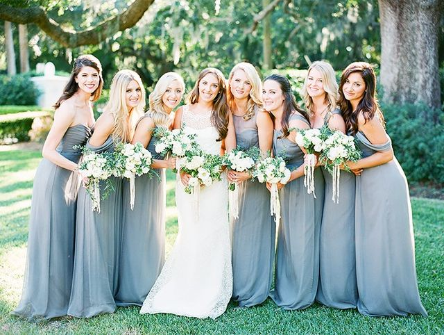 """Don't:Go for summer accessories. Do: Add festive details like fur or sequins. """"This is also a great time of year to add festive details like sequins and fur to the bridesmaids'..."""