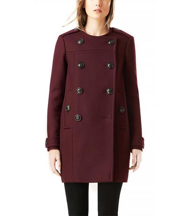 Burberry Collarless Wool Blend Coat