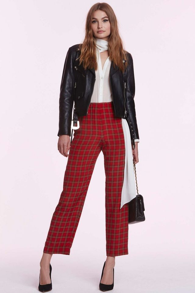 Chanel Viviane Silk Tartan Trousers