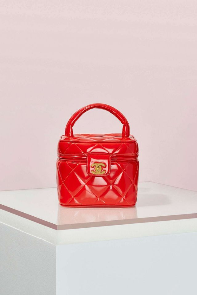 Chanel Red Patent Leather Quilted Vanity Bag
