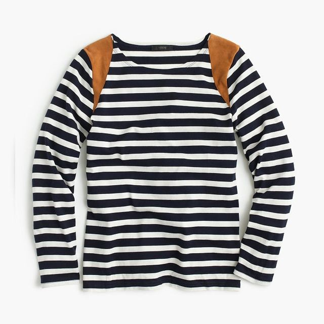 J. Crew Striped Suede-Shoulder T-Shirt