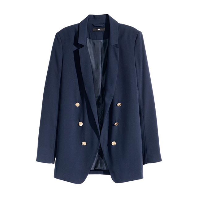 H&M Crepe Jacket in Dark Blue