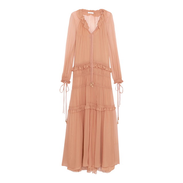 Chloé Plissé Silk-Chiffon Maxi Dress