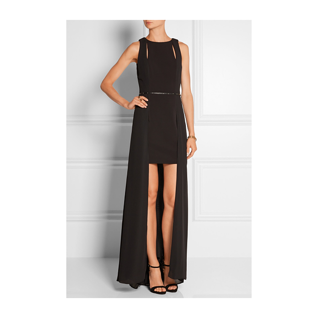 Halston Heritage Belted Chiffon and Stretch-Jersey Gown
