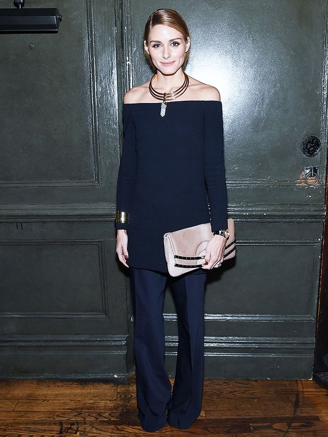 On Palermo: Bauble Bar Occult Necklace(£47); Tibi Off-the-Shoulder Dress(£323);Anson Wool Trousers(£350).