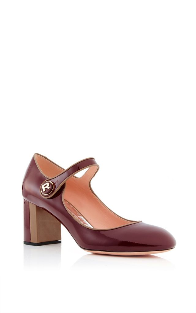 Rochas Patent Heeled Mary Janes