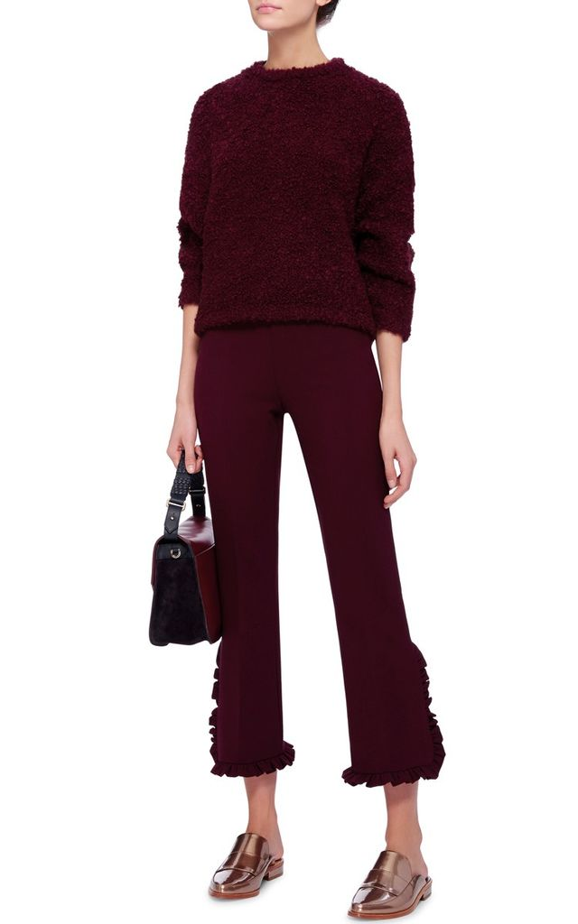 Clover Canyon Red Suiting Pants with Pleated Trim