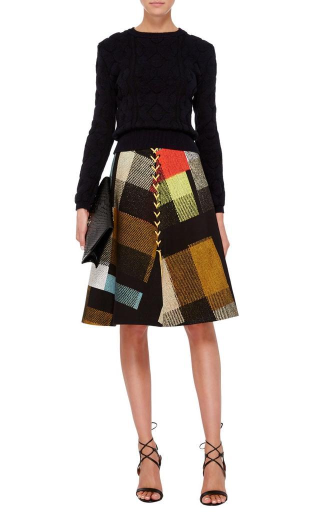 Preen by Thornton Bregazzi Astor Button Front Check Skirt
