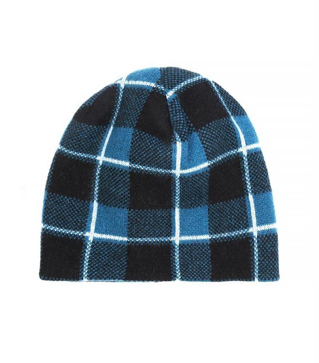 Baja East Plaid Cashmere Beanie Hat