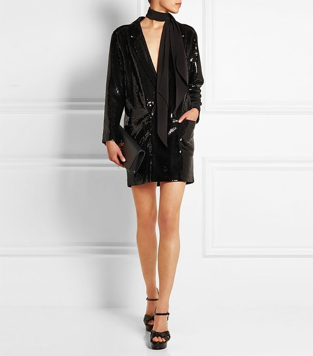 Saint Laurent Sequined Crepe Mini Dress