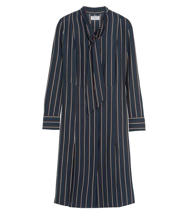 Frame Denim Le Shirt Striped Washed Silk-Charmeuse Dress