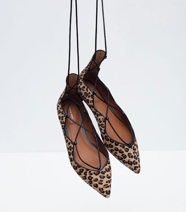 Zara Printed Leather Flats