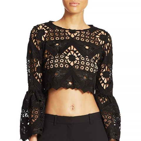 Vito Bell Sleeve Lace Cropped Top