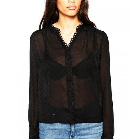 Sheer V Neck Long Sleeve Shirt