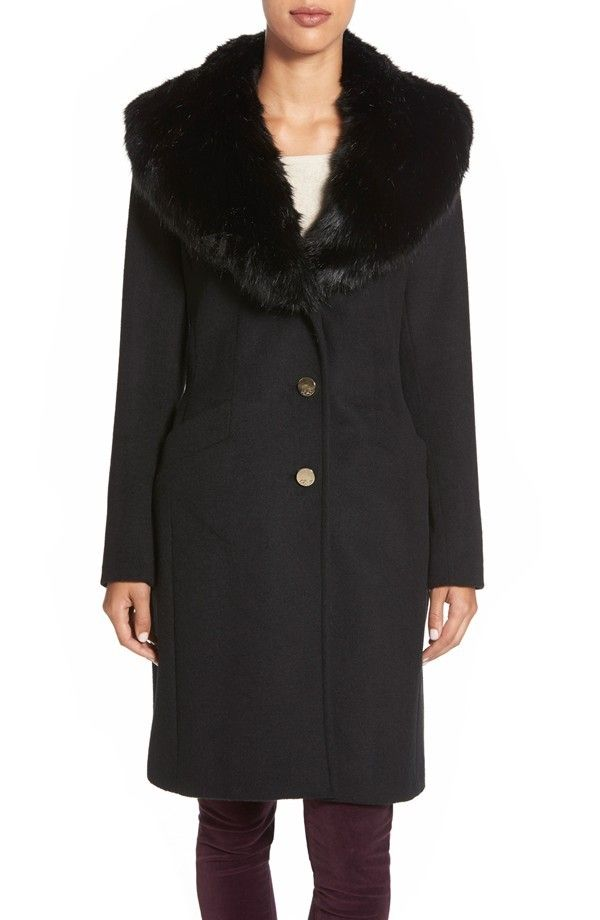 Eliza J Faux Fur Collar Long Wool Blend Coat