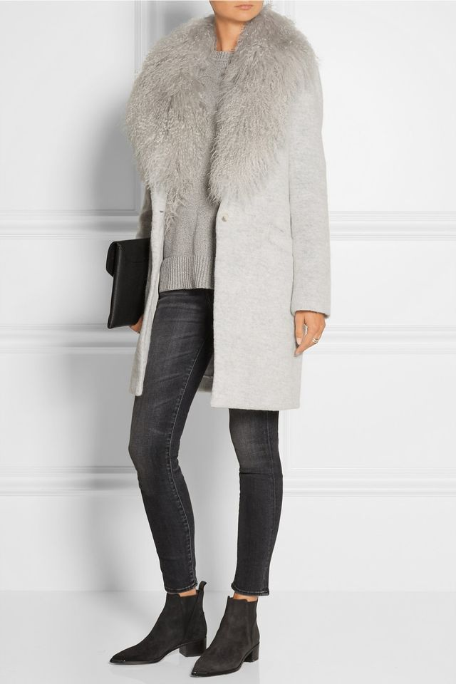 Elizabeth and James Iris Shearling-Trimmed Knitted Coat