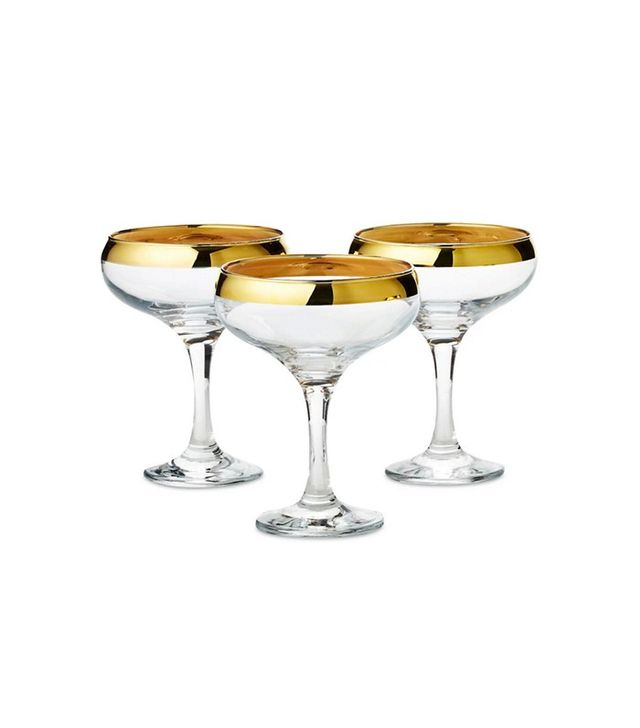 One Kings Lane Gold-Rim Champagne Glasses