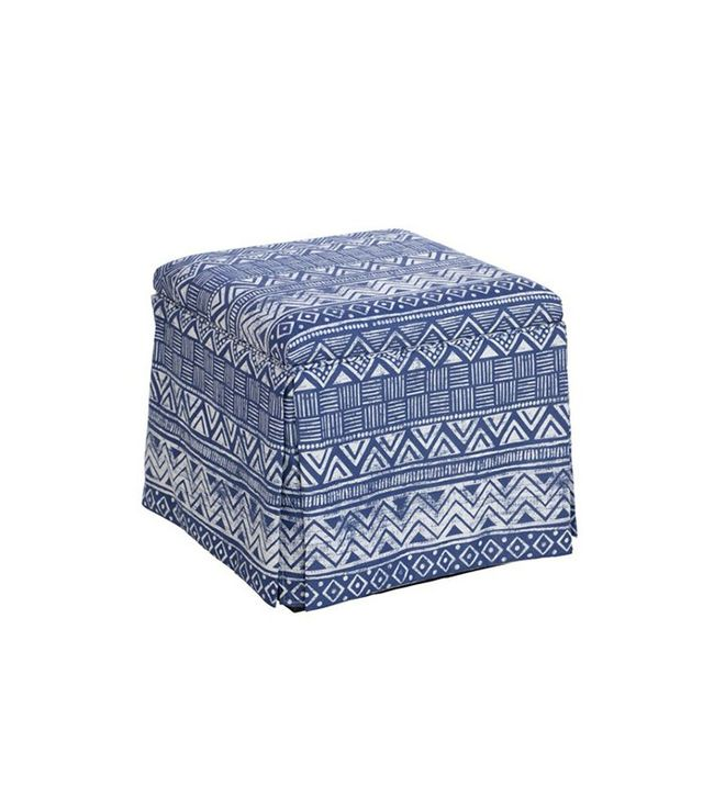 One Kings Lane Anne Skirted Storage Ottoman in Indigo
