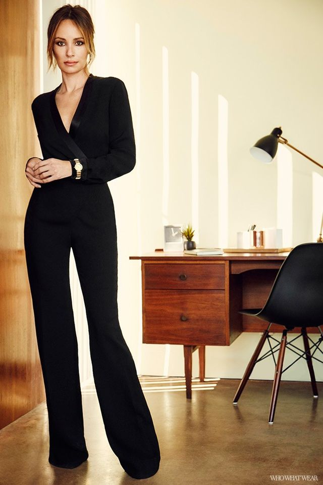 This black tuxedo jumpsuit is a stunning alternative to an evening dress. Where do you see yourself wearing it?