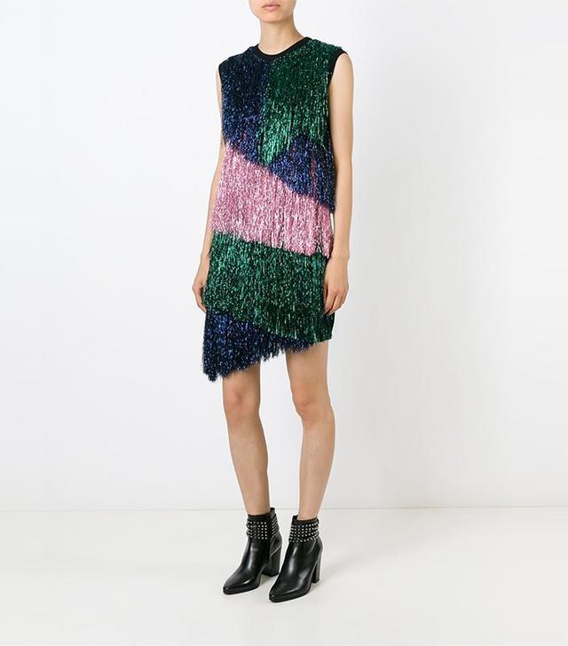 MSGM Colour Block Fringed Dress