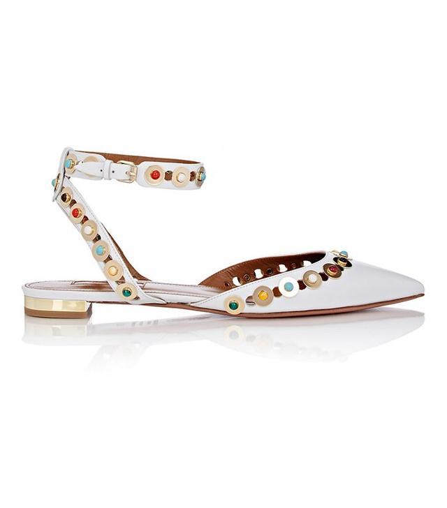 Aquazzura Embellished Byzantine Ankle-Strap Flats