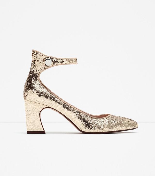 Zara Glitter Heel Shoes