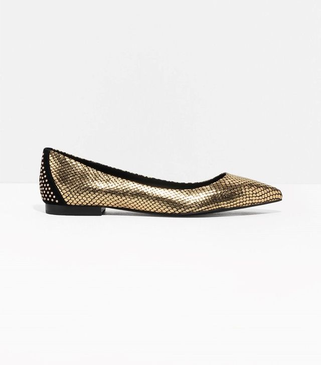 & Other Stories Pointy Reptile Ballet Flats