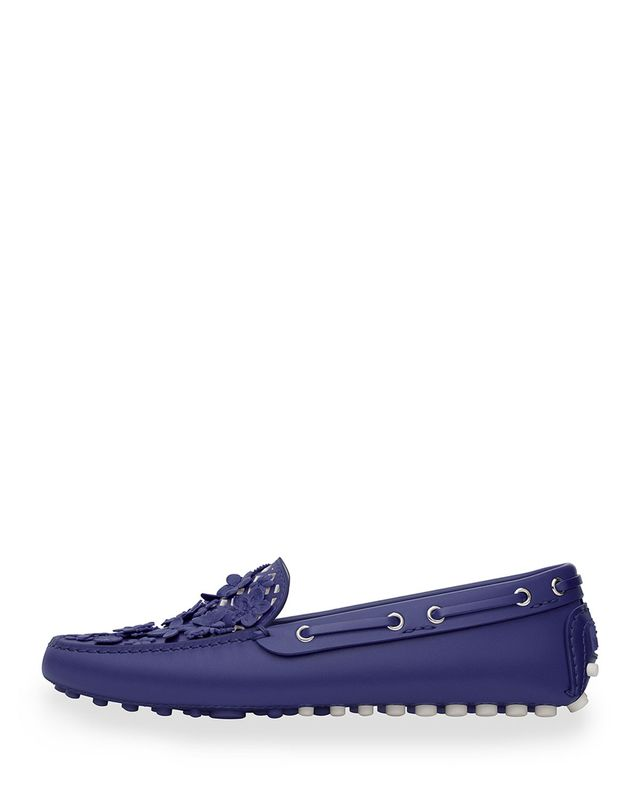 Dior Embellished Leather Driving Loafer in Navy