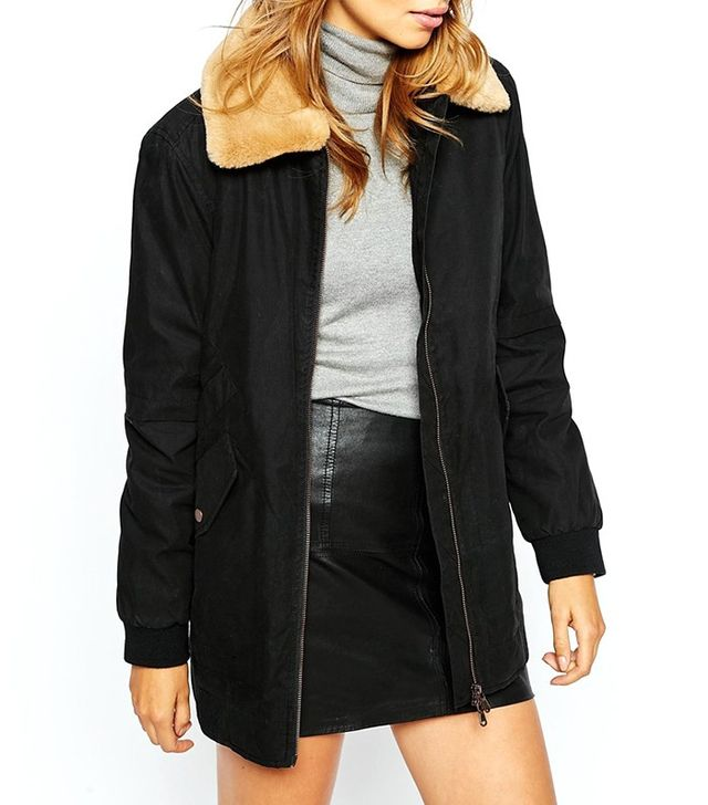 Parka London Aviator Bomber with Faux Fur Collar