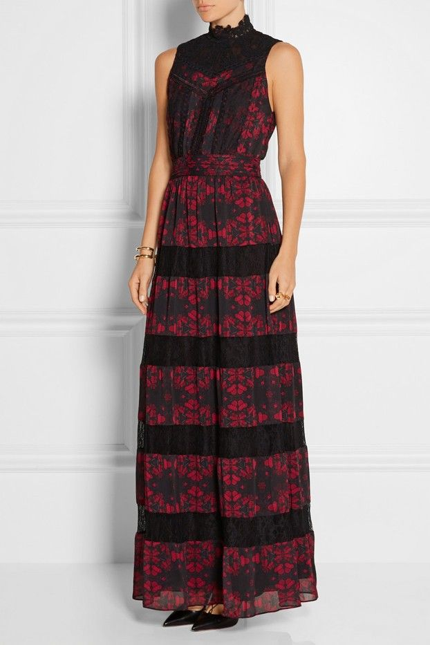 Alice and Olivia Briella Lace-Paneled Printed Georgette Gown