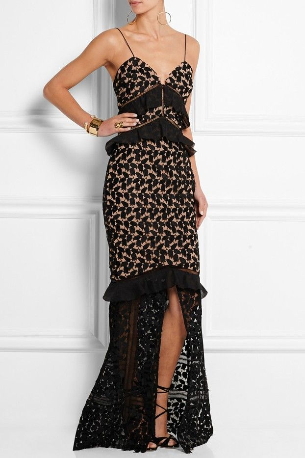 Self-Portrait Aaliyah Organza-Ruffled Guipure Lace Gown