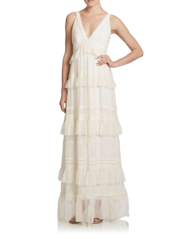 Diane von Furstenberg Karen Ruffled Silk Lace-Detail Gown