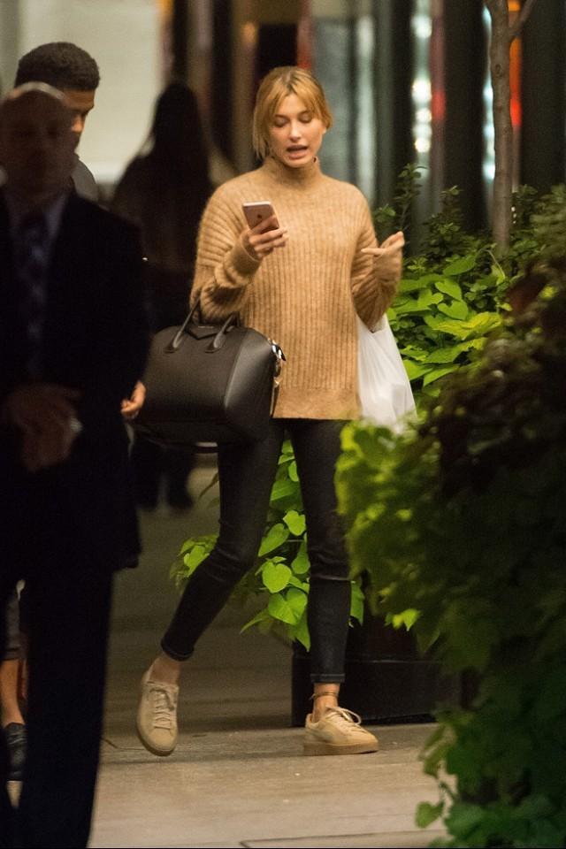 Hailey Baldwin in Rihanna x Puma sneakers