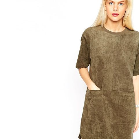 Shift Dress in Suedette with Rib Neck and Pockets