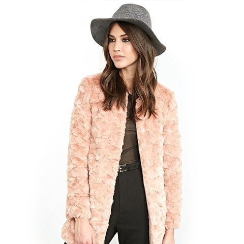 Textured Faux Fur Coat