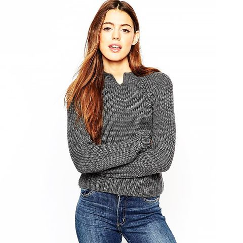 Cropped Sweater in Rib With Notch Neck Detail