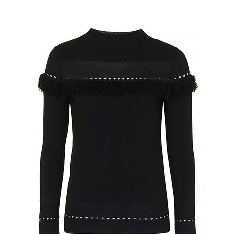 Clean Fringe Funnel Neck Jumper