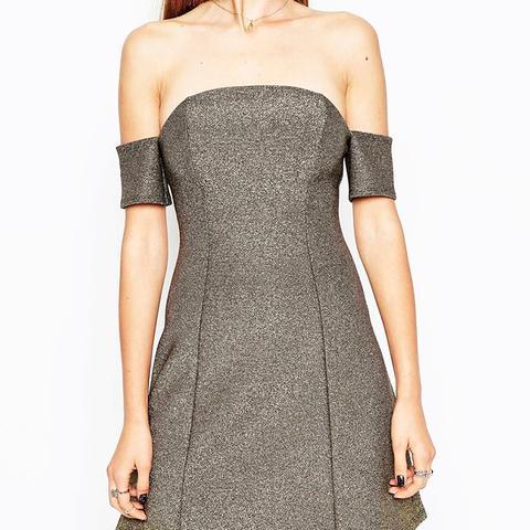 Glitter Bardot A-Line Mini Dress